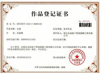 金迪标志获得版权作品登记证书